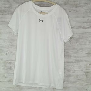 Under Armour Heatgear Shirt Sz L Womens White